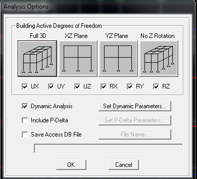Etabs - Thiết lập chế độ phân tích theo 3D hoặc theo từng phương